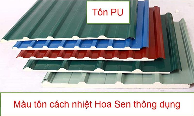 Bảng màu tôn cách nhiệt Hoa Sen thông dụng