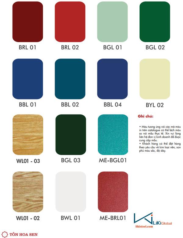 Bảng màu tôn Hoa Sen từ catalogue nhà máy