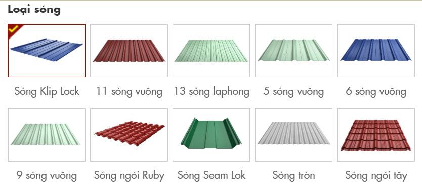 Một số màu tôn Hoa Sen được cán sóng thông dụng tham khảo
